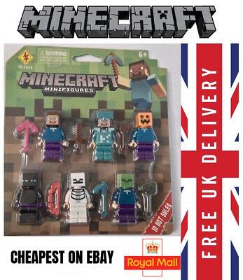6 x Minecraft Toy Figures & Weapons SEALED PACK UK FREE P&P
