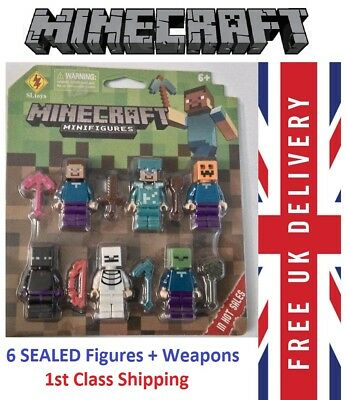 6 x MINECRAFT Figures & Wepons SEALED PACK + Lego Brick 4073 Minifigure TOY