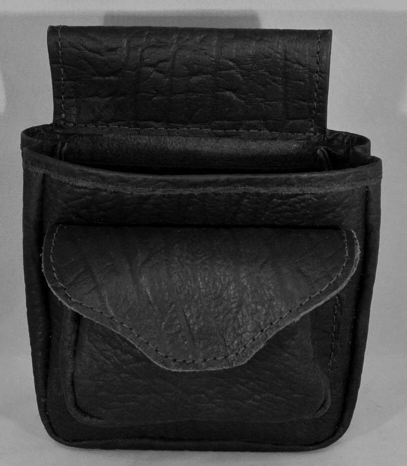 CAPE BUFFALO HIDE SHOTGUN SHELL POUCH Skeet Trap Sporting Clays - BLACK DELUXE