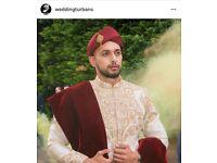 Hand tied wedding turbans, turban tying service BENGALI Turban Sherwani Safa Pagri UK