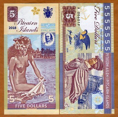 Pitcairn Islands, $5 private issue, 2018, Bounty, Polynesian Nude