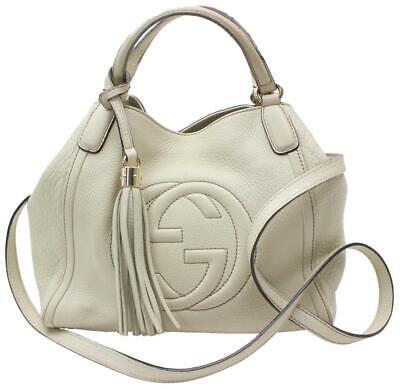 7b511fdf1e2 Gucci Soho Convertible Fringe Tassel Cream Leather Shoulder Bag 868948