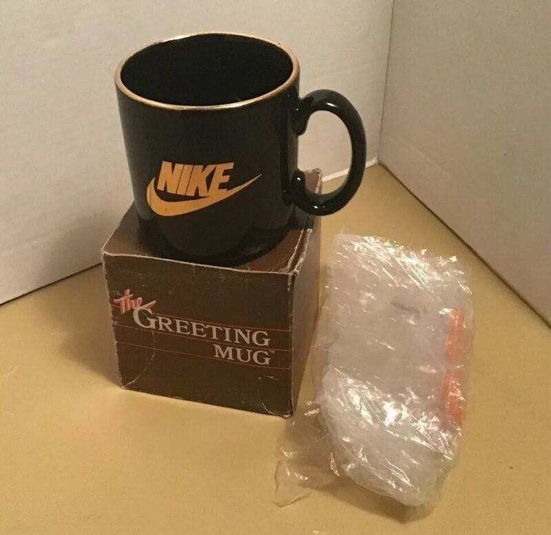 Rare Vintage 90's NIKE Black/Gold Coffee Mug Made in England New With Box 3.5""