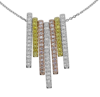 Rosa Diamant - Halskette & Anhänger 1.69ct Natürlich Kostüm Pink 18K - Kostüm Diamant Halskette