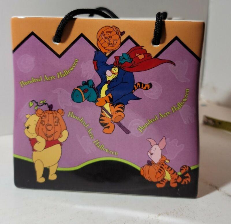Disney 2000 FTD Pooh Hundred Acre Halloween Trick Or Treat Candy Bag/Vase