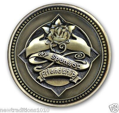 BRZ Sponsor/YELLOW ROSE FriendshipAA/NA/12 Step Program Recovery Coin/Medallion