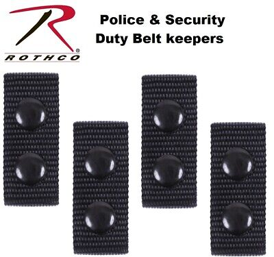GG4 @ 2 X ARMY POLICE BLACK NYLON DUTY BELT KEEPERS SNAPS FIT BELTS 2 INCH #
