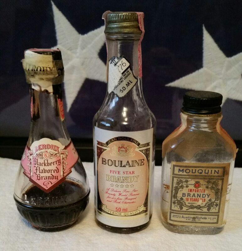 Vintage MOUQUIN, BOULAINE, and LEROUX Mini Brandy bottles Lot of 3 Empty