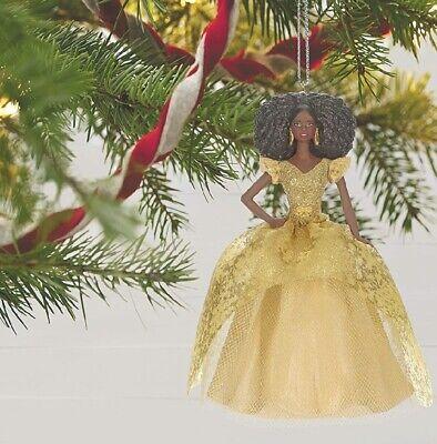 Hallmark Keepsake 2020 Ornament Barbie Holiday African American Gold Dress NIB