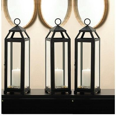 "8 black 18"" x 5"" slender malta Candle holder Lantern wedding table centerpiece"