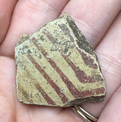 Red Painted Pre-Columbian Terracotta Pottery Sherd Vessel Fragment Geometric