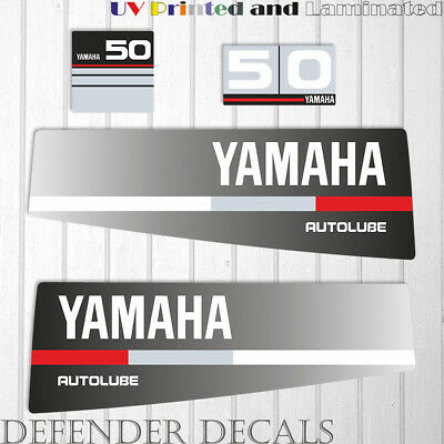 Yamaha 50 HP AUTOLUBE outboard engine decal sticker Set Kit reproduction Black for sale  Shipping to South Africa