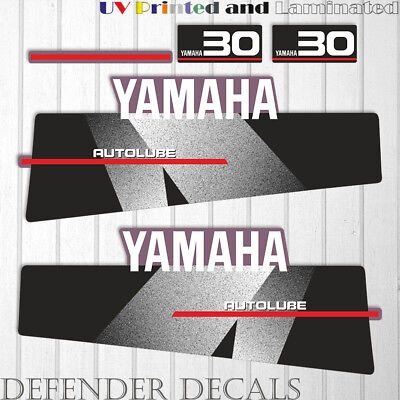 Yamaha 30 HP AUTOLUBE outboard engine decal sticker Set Kit reproduction Black for sale  Shipping to South Africa