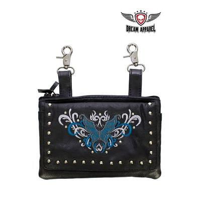All Naked Cowhide Leather Turquoise Butterfly Belt Bag