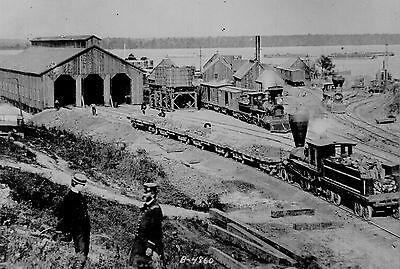 US Military Railroad Depot PHOTO Civil War City Point VA, Train Engine President