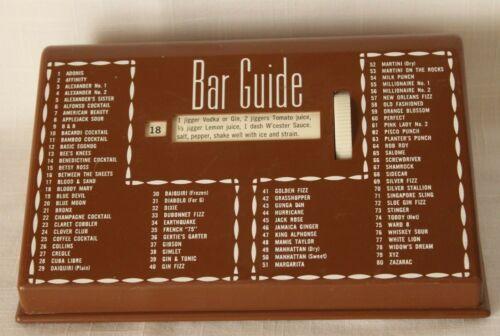 VTG Mid Century Brown BAR GUIDE 80 Cocktail Drink Roller Recipes Glenn Shaw-I