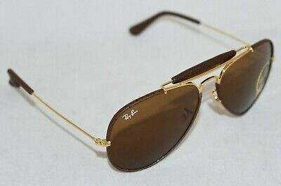 Ray-Ban RB3422Q 9041 Aviator Craft Leather Brown w/ Brown Classic Lens. New (Ray Ban Leather Sunglasses)