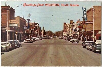 Williston North Dakota Main Street Scene Cars Vintage 1960s Postcard