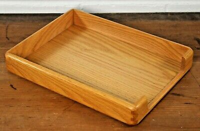 Vintage Solid Wooden Paper Tray Desk Tidy Office Filing Organiser St Michael