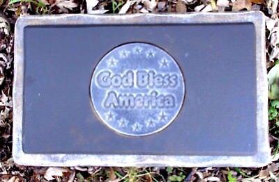 God Bless America bench top mold plaster concrete small garden memorial mould