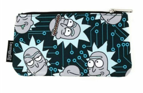 Rick & Morty Computer Chip Loungefly Nylon Zip Pouch Cosmetic Coin Pencil Bag