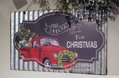Rustic Farmhouse Red Truck Home 4 Christmas Wall SIGN~Chalkboard~Galvanize Metal