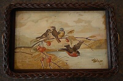 Vintage tray Art Bird Picture Frame Farmhouse Beautiful Wall Decor Dark Wood