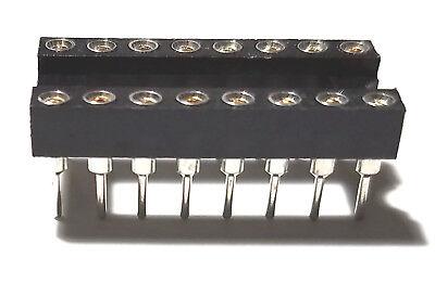 20pcs Ic Sockets Dip-16 Machined Round Contact Pins Holes 2.54mm Dip16 Dip 16