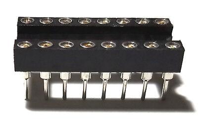 50pcs Ic Sockets Dip-16 Machined Round Contact Pins Holes 2.54mm Dip16 Dip 16