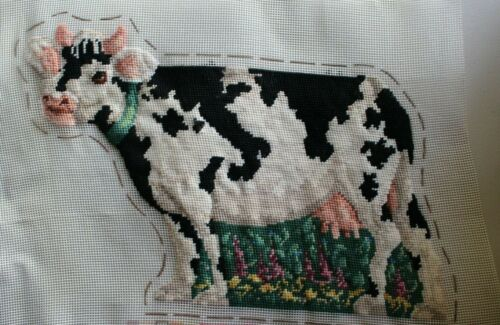 Milk Cow Black White Spotted Needle Treasures Needlepoint Completed Finished