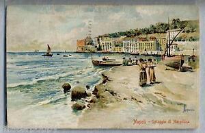 Capuana NAPOLI Spiaggia di Mergellina Pittorica PC Viaggiata 1921 - Italia - Very happy or money back, no question asked! - Italia