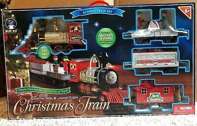 Train Set North Pole Junction Christmas, 34 Piece + 20 Feet of Track NIB