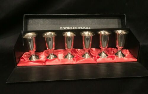 TOWLE STERLING SILVER #58 - SET OF 6 CORDIAL SHOT GLASSES WITH BOX