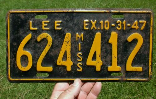 Original~1947 LEE COUNTY MISS~Mississippi License Plate good shape hard to find!