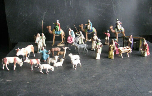1920s MAROLIN NATIVITY SET FIGURINES 33 pcs. 9cm Paper Mache GERMANY ANTIQUE