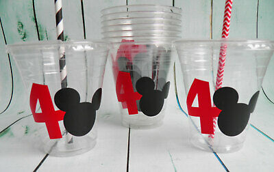 Set of 24- Minnie Mickey Mouse Birthday Party Cups with Lids and Straws - Mickey And Minnie Birthday Party