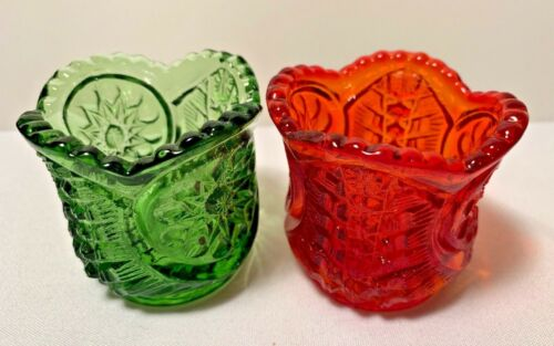 """Toothpick Holder Riverside Glass Chimo 2"""" Tall Green & Red"""