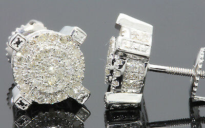 .58 CARAT MENS/WOMENS 9mm 100% GENUINE DIAMONDS WHITE GOLD FINISH EARRINGS STUDS