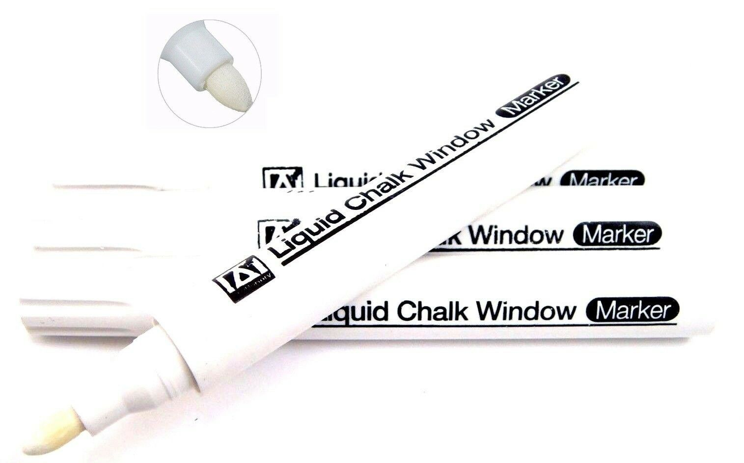 UK 10pcs White Liquid Chalk Pens Marker For Glass Windows Chalkboard Blackboard