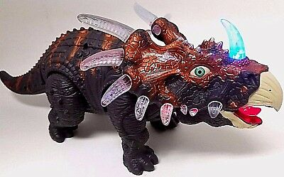 Wolvol Walking Triceratops Toy Dinosaur Flashing Lights   Roaring Sounds   Video