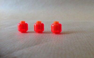 Lego Plain Minifig Head x 10 Trans-Red Minifigure Head