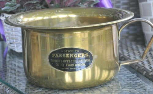 Vintage Central Pacific Railroad Brass Spittoon Rare!
