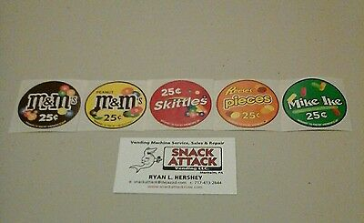 Vendstar 3000 Bulk Candy Vending Machine 5 Candy Label Stickers - New Oem