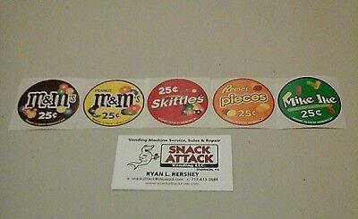 Vendstar 3000 Bulk Candy Vending Machine 5 Candy Label Stickers - New Oem