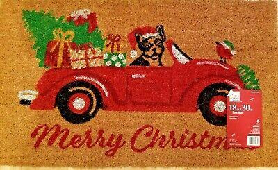 MERRY CHRISTMAS Red Car Convertable Tree Dog Bird Door Mat Doormat Decor Coir