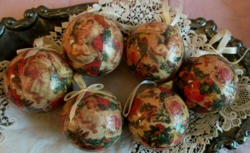 Box of 6 Vintage Paper Mache Christmas Ornaments Victorian Roses Angels