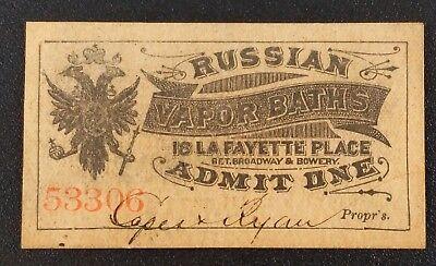 RARE Antique Russian Vapor Baths Admittance Pass  ~ LaFayette Place York City - Lafayette Bath