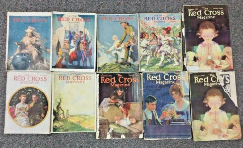 Lot of American Red Cross Magazines from 1919 WWI - 9 Issues; 10 copies