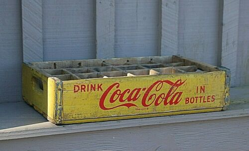 Rustic Wood Yellow Coca Cola Coke Soda Pop Bottle Crate Carrier Case 24 Slot Box