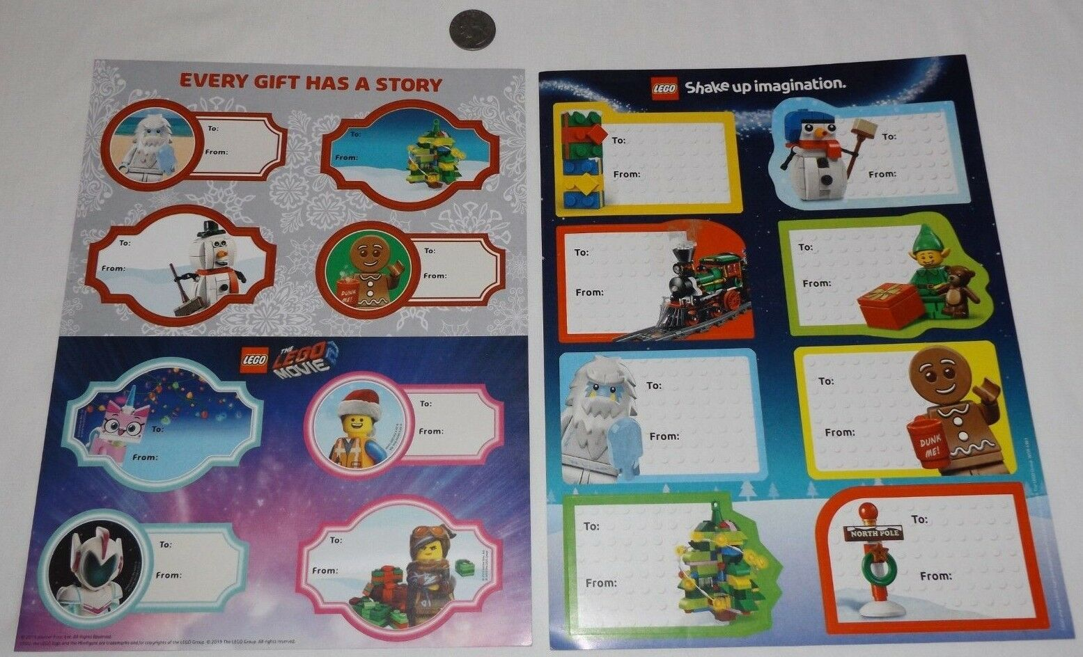 LEGO Christmas Gift Tag Sticker Sheets - 2 Pages with 16 Lar